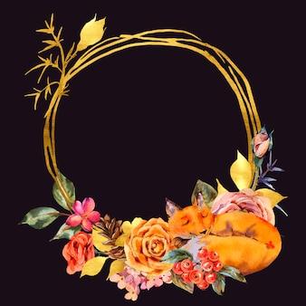 Cadre or floral aquarelle avec renard endormi, rose, baies, pomme de pin et fleurs sauvages.