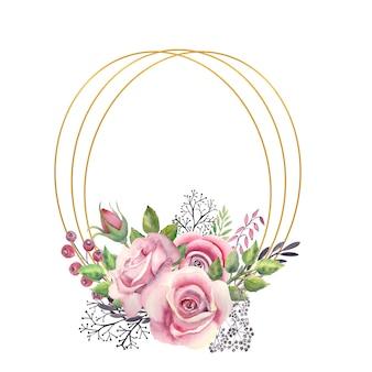 Cadre or ovale avec une aquarelle de fleurs