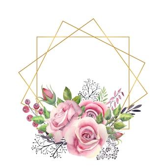 Cadre or polygonal avec une aquarelle de fleurs