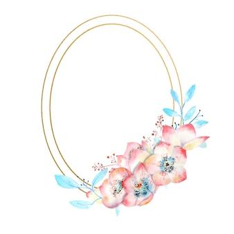 Cadre ovale doré avec des fleurs d'hellébore rose aquarelle