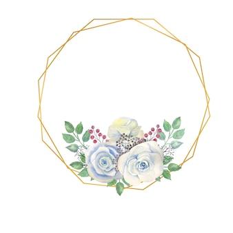 Cadre ovale avec des fleurs