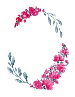 Cadre ovale vintage avec des fleurs de pivoine rose aquarelle et de délicates feuilles bleues
