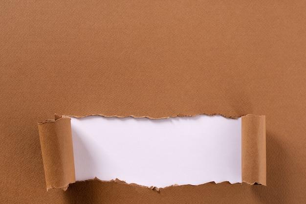 Cadre de papier brun déchiré, bande blanche, bord inférieur enroulé