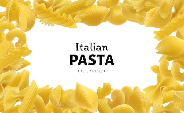 Cadre de pâtes italiennes pour votre modèle de conception de menu, différents types de pâtes crues sur fond blanc avec espace de copie