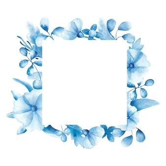Cadre avec pavot bleu aquarelle et feuilles isolées sur fond blanc. le motif délicat avec des fleurs sauvages est parfait pour les cartes de voeux, les invitations, les affiches.