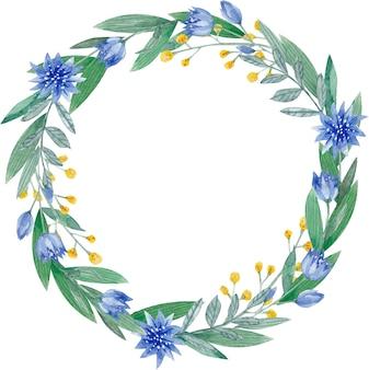 Cadre peint à la main à l'aquarelle avec des herbes et des fleurs le design parfait pour le menu de la carte de voeux