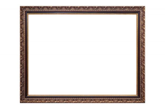 Cadre photo antique doré sur blanc