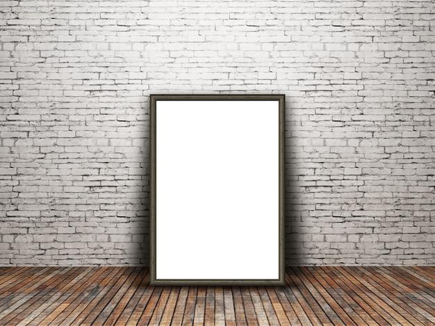 Cadre photo blanc 3d appuyé contre un vieux mur de brique