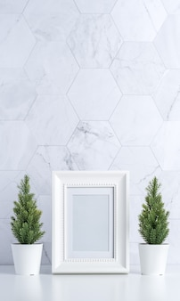 Cadre photo blanc avec des arbres