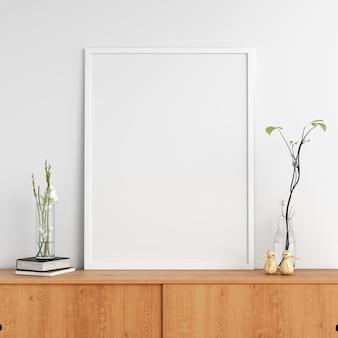 Cadre photo blanc sur le cabinet