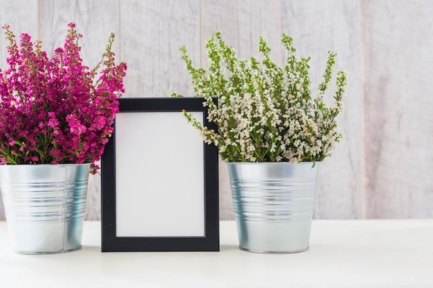 Cadre photo blanc entre les fleurs roses et blanches dans un pot en aluminium