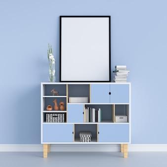 Cadre photo blanc sur le meuble pour maquette