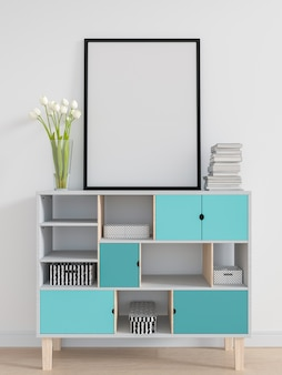 Cadre photo blanc pour maquette sur l'armoire