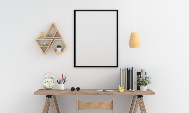 Cadre photo blanc pour maquette sur le mur