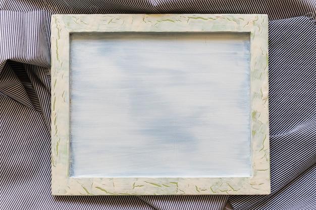 Cadre photo blanc sur toile de coton rayée
