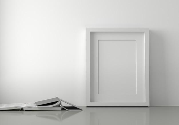 Cadre photo blanc vierge posé sur le sol avec des livres. rendu 3d.