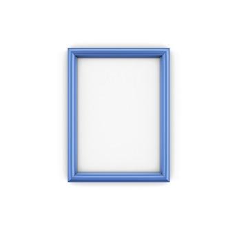 Cadre photo bleu isoler en illustration 3d
