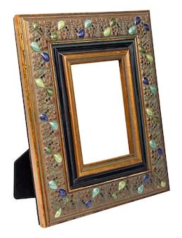 Cadre photo en bois antique avec espace vide isolé sur fond blanc