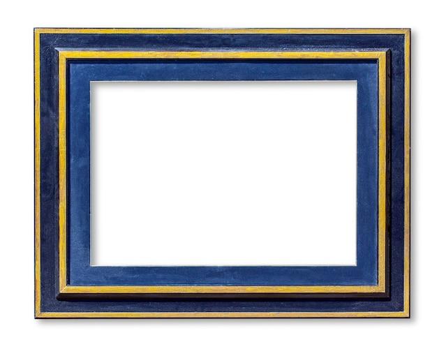 Cadre photo en bois bleu isolé sur blanc