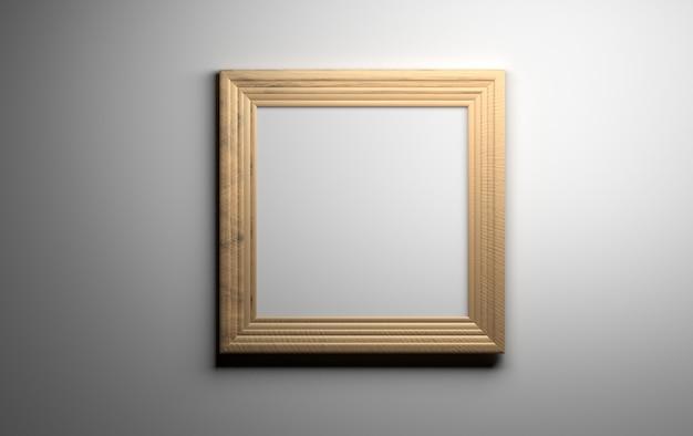 Cadre photo en bois vide vide réaliste sur l'arrière-plan du mur gris.