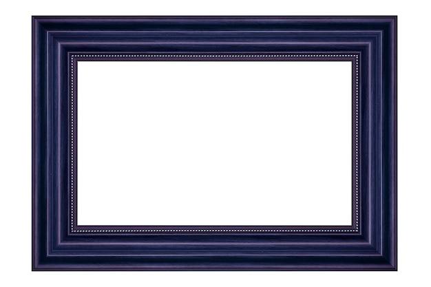 Cadre photo en bois vintage bleu isolé sur fond blanc