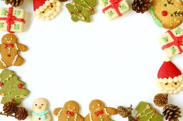 Cadre photo délicieux d'une variété de biscuits de noël