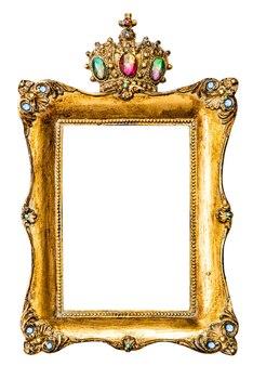 Cadre photo doré décoré de pierres précieuses isolé sur fond blanc