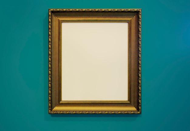 Cadre photo doré et texture de mur photo