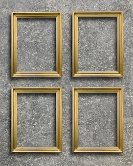 Cadre photo doré vintage sur mur de ciment rouille