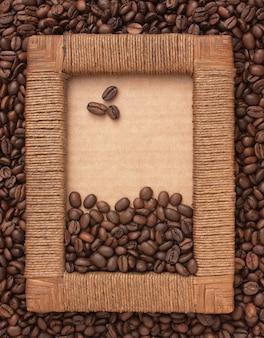 Cadre photo de grains de café