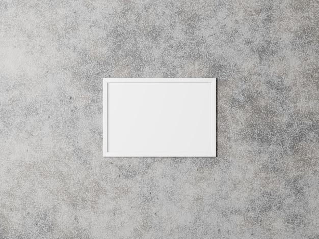 Cadre photo horizontal blanc sur mur en béton