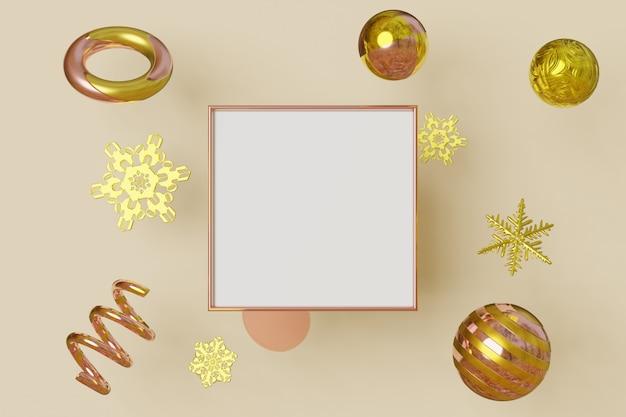 Cadre photo horizontal couleur or vole sur fond avec des flocons de neige métalliques et des boules