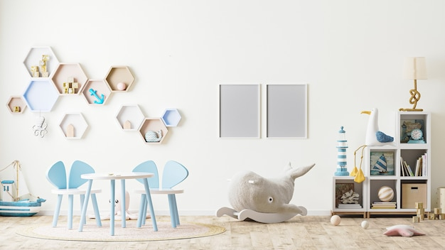 Cadre photo à l'intérieur de la salle de jeux pour enfants avec jouets, meubles pour enfants, table avec chaises, étagères, style scandinave, rendu 3d