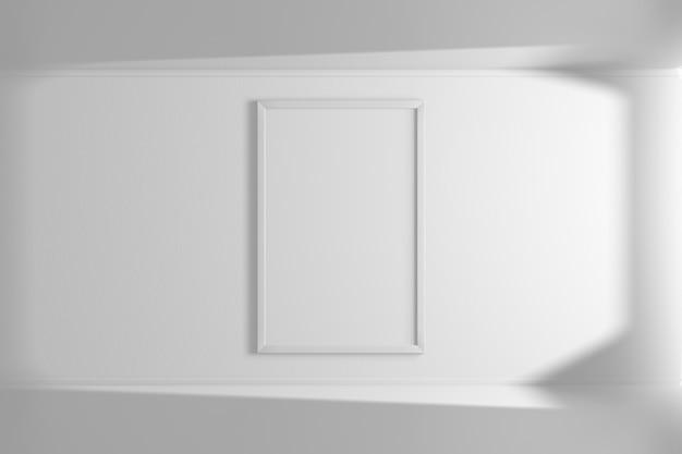 Cadre photo maquette verticale de couleur blanche accroché au mur. intérieur simple. chambre lumineuse. ombre et lumière de la fenêtre. rendu 3d