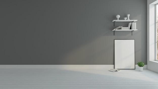 Cadre photo minimal avec mur gris et étagère à livres rendu 3d