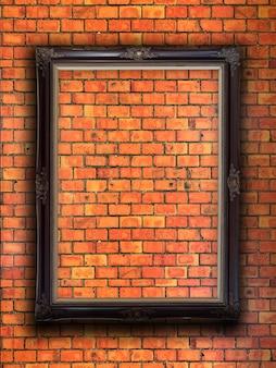 Cadre photo sur mur de briques rouges