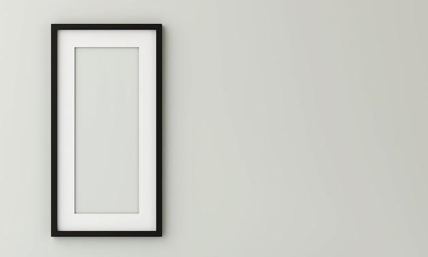 Le cadre photo noir sur le mur a un espace sur le côté droit. rendu 3d.