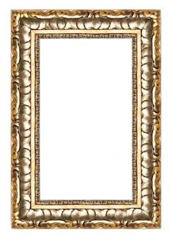 Cadre photo or avec un motif décoratif isolé sur blanc