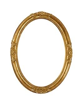 Cadre photo ovale doré en bois vintage isolé
