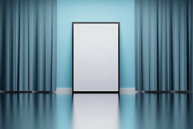 Cadre photo avec rideaux bleus