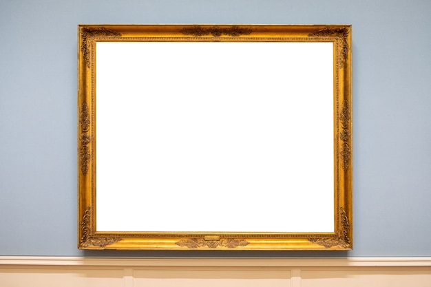 Cadre photo sculpté doré antique sur le mur