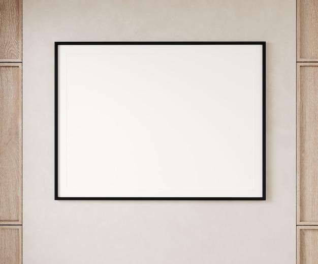 Cadre photo simple carré vide bordé de noir accroché sur un mur beige avec des panneaux en bois. illustration 3d.