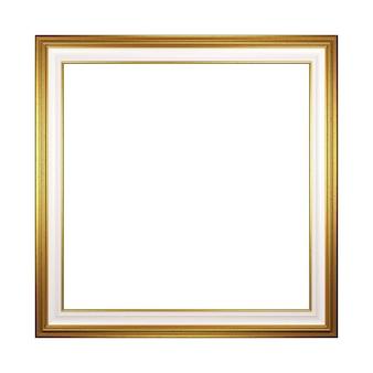 Cadre photo vide carré doré isolé