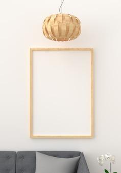 Cadre photo vide dans le salon moderne