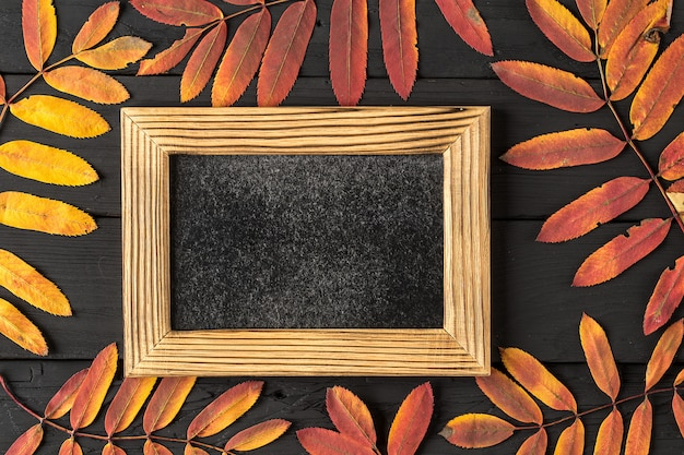 Cadre photo vide et feuilles d'automne colorées sur fond noir