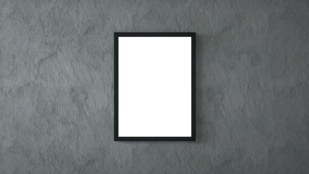 Cadre photo vide sur mur de béton. rendu 3d.