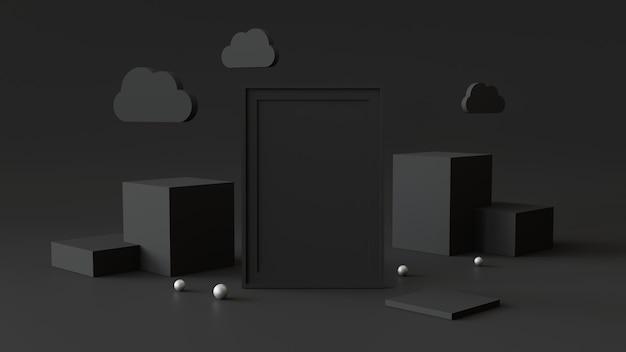 Cadre photo vide avec podium cylindre. abstrait géométrique pour l'affichage ou la maquette. rendu 3d.