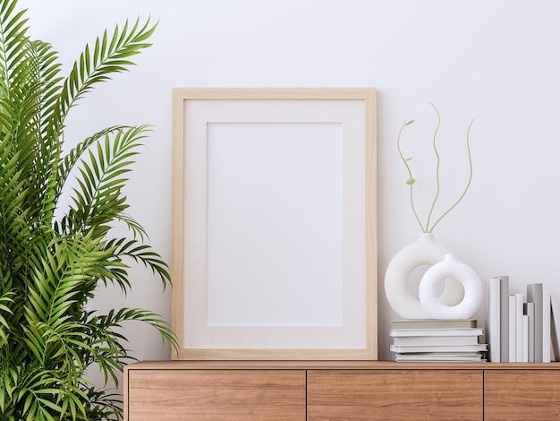 Cadre photo vierge sur armoire en bois avec rendu 3d de fond de mur blanc