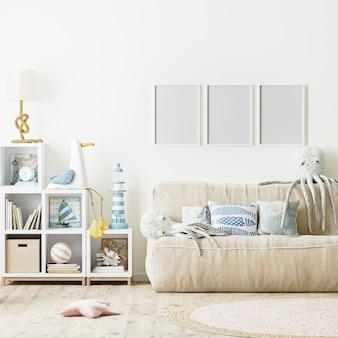 Cadre photo vierge dans un style scandinave intérieur de chambre à coucher pour enfants modernes, rendu 3d