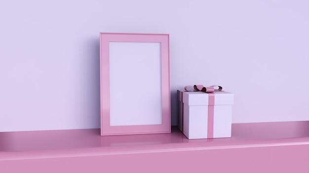Cadre photo vierge et formes géométriques sur fond rose, coffret cadeau rose